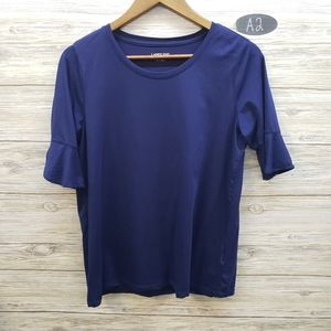 Lands End Navy Ruffle Short Sleeve Top